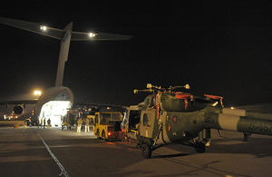 Lynx Mk9A helicopter is loaded onto a C-17 transport aircraft