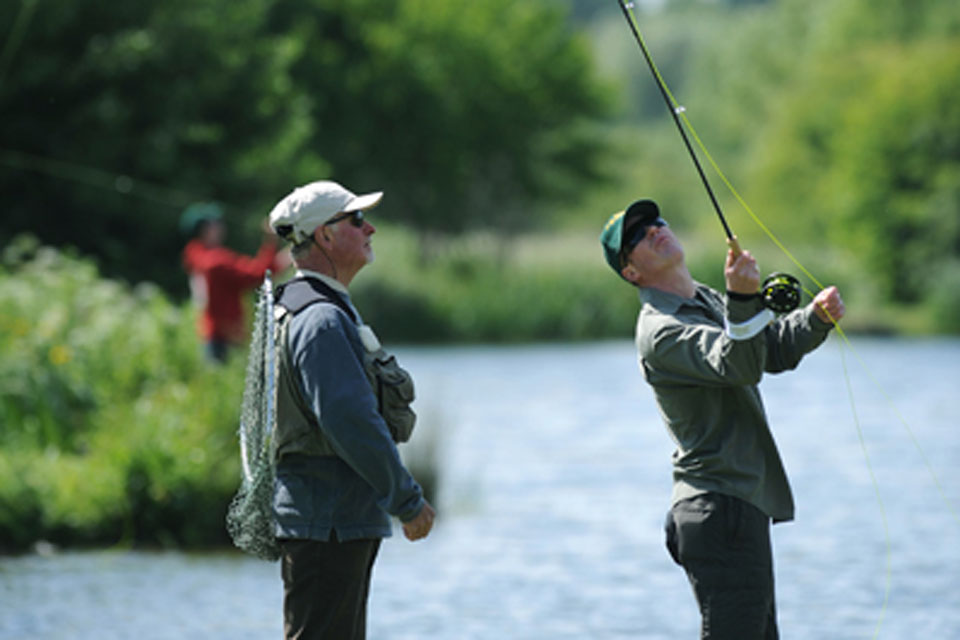 Colour Serjeant Vince Bowerman from 4 Rifles (right) with Instructor Gerald Hunt during the inaugural Fishing 4 Forces day at Avon Springs Fisheries, Durrington