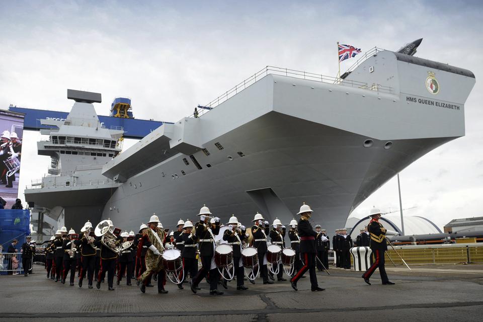 A Royal Marines band at the naming ceremony