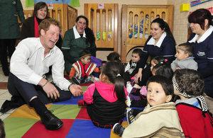 Prince Harry with children of 'Sagrada Familia' Kindergarten.