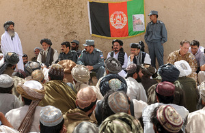 The shura held at Pay Kalay in July 2009 marking the end of Operation PANTHER'S CLAW and attended by the then Commander of Task Force Helmand, Brigadier Tim Radford, and Provincial Governor Gulab Mangal