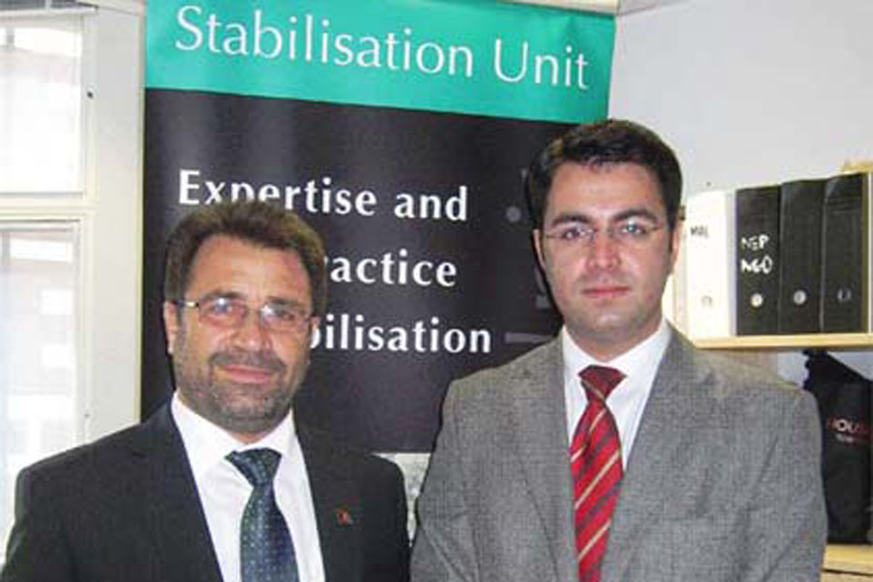Pamir Patang (right) with Governor Gulab Mangal on a recent visit to the Stabilisation Unit in London