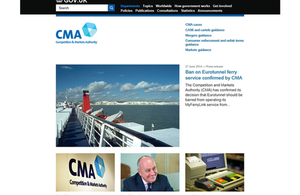 Screenshot of CMA on GOV.UK