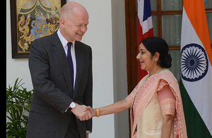 Foreign Secretary meets India's minister for external affairs Sushma Swaraj in New Delhi