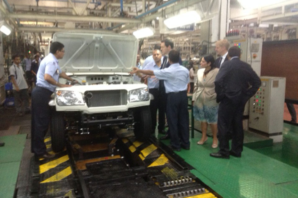 The Chancellor on a visit to Mahindra in Mumbai on Monday