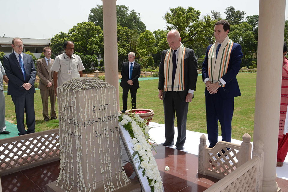 The Chancellor and Foreign Secretary visit the Gandhi Smriti in New Delhi