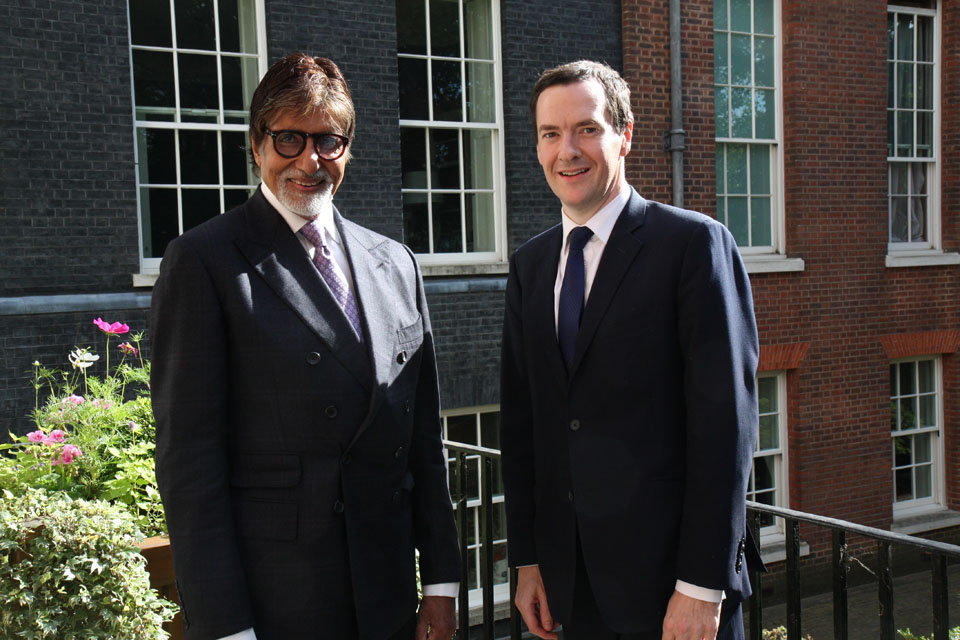 The Chancellor with movie star Amitabh Bachchan ahead of his visit to India