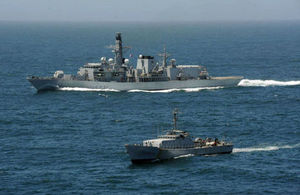 HMS Argyll pictured with a Senegalese patrol in 2013.