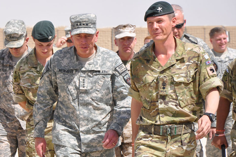 General David Petraeus (left) with Lieutenant Colonel Gerald Strickland in Afghanistan
