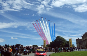The Red Arrows fly over Harewood House in Yorkshire at the ceremonial start of the Tour de France 2014 [Picture: Crown copyright]