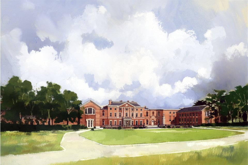 Watercolour showing the north facade of the Defence and National Rehabilitation Centre at Stanford Hall