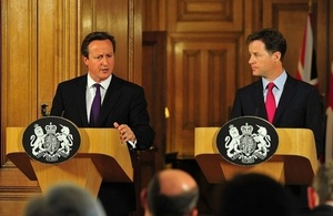 The PM and Deputy PM at a press conference. Credit: Crown Copyright.