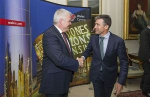First Minister for Wales Carwyn Jones greets NATO Secretary General Anders Fogh Rasmussen
