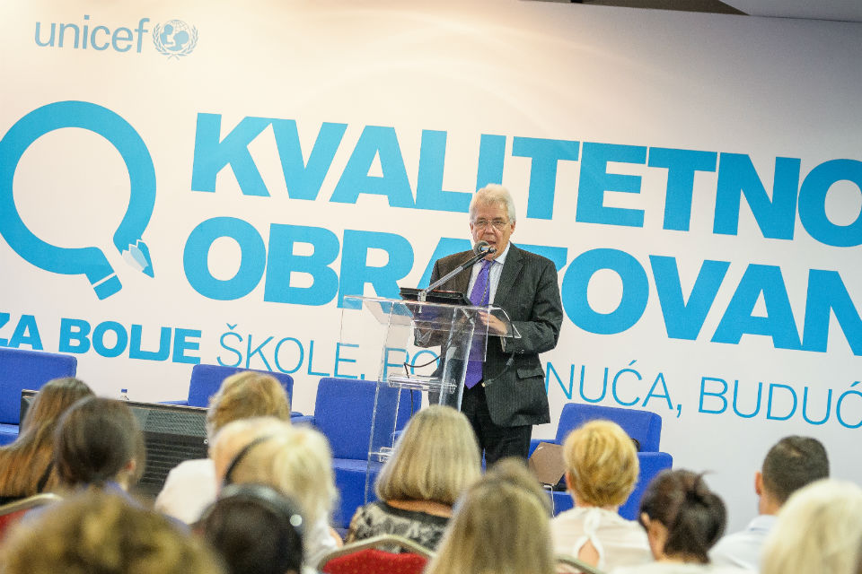 British ambassador to Montenegro Ian Whitting at the education conference; Photo: UNICEF / Dusko Miljanic