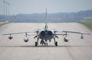 A Royal Air Force Tornado takes off from RAF Marham