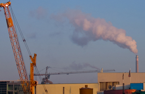 Emissions from a chimney at an industrial site