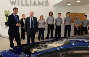 Prime Minister David Cameron at the Williams factory