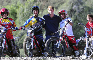 Prince Harry with Trial bike group in the foothills of the Andes.