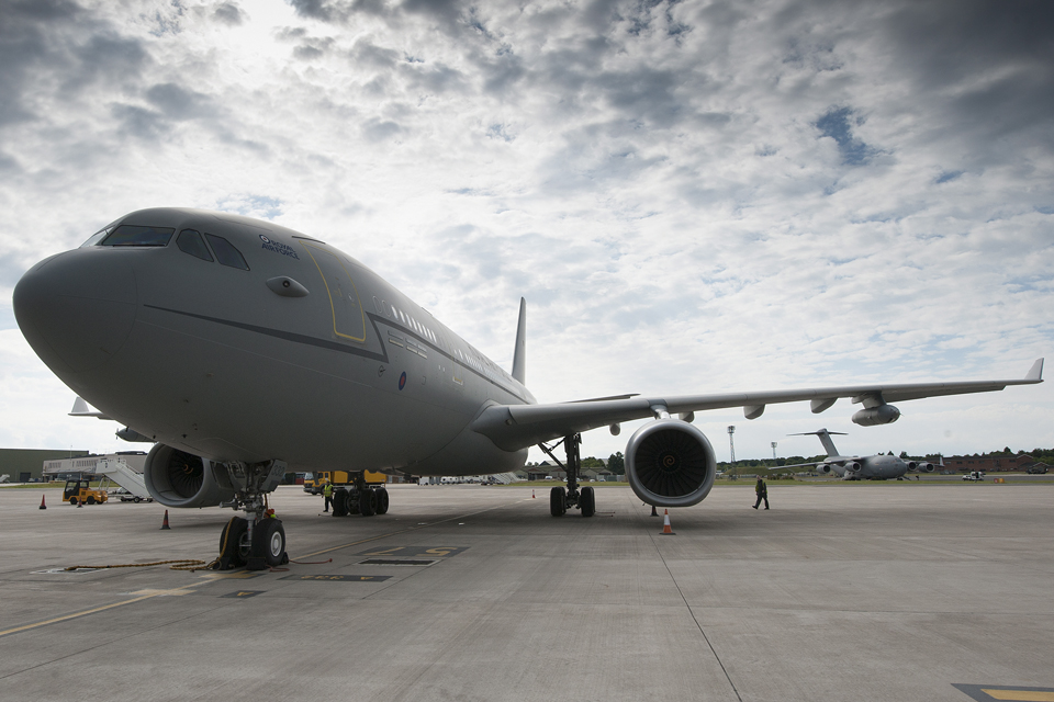 A Royal Air Force Voyager transport aircraft