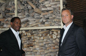 Hon.Lazaro Nyalandu, Minister of Tourism and Natural Resources with Mark Simmonds, UK Minister for Africa