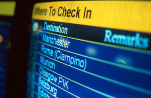 Airport departure board.