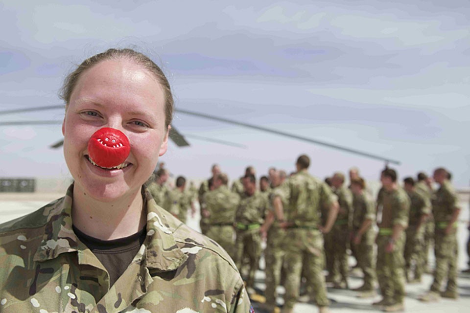 Flight Lieutenant Alexys Colyer from 1310 Flight gets into the Red Nose Day spirit at Camp Bastion