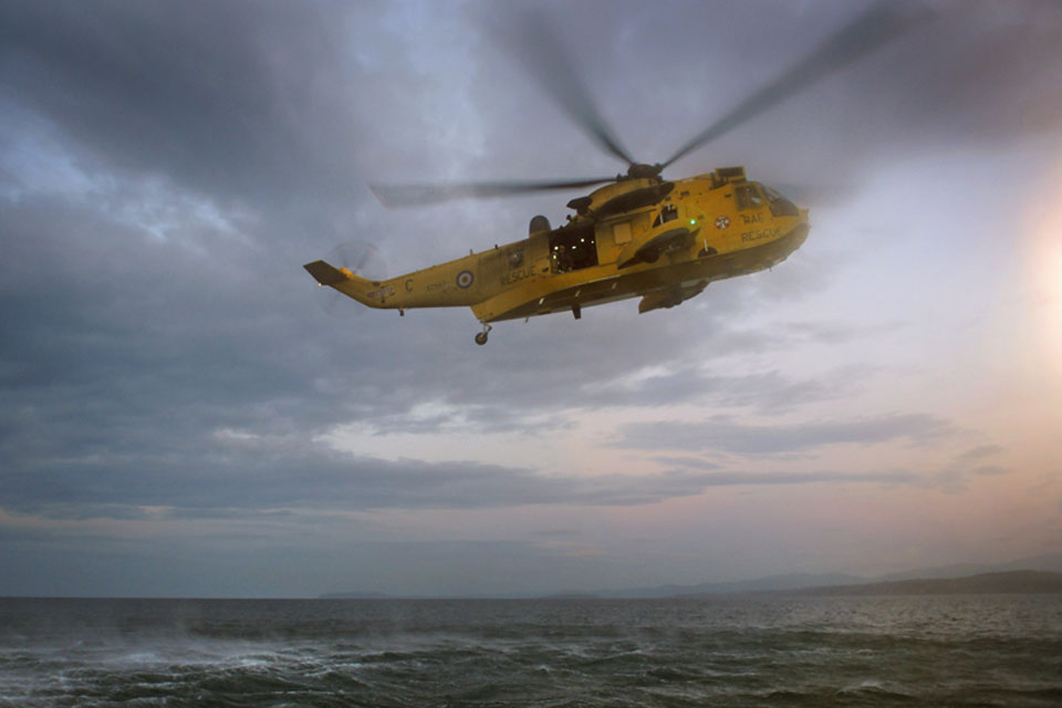 RAF Sea King helicopter over the sea