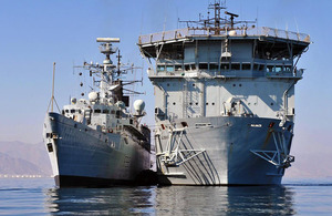 HMS Cornwall alongside RFA Diligence in the Middle East (stock image)