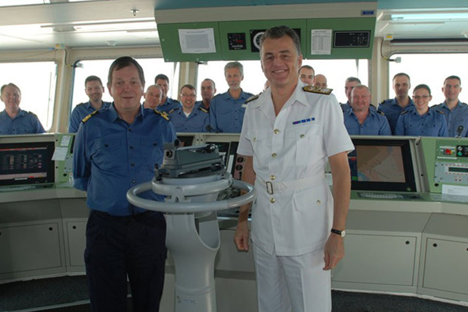 Commodore Bill Walworth, head of the Royal Fleet Auxiliary, visiting RFA Lyme Bay