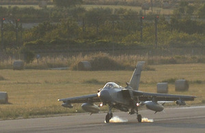 An RAF Tornado GR4 touches down at Gioia del Colle air base in southern Italy