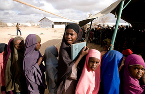 Pupils wait in line to begin class at a temporary tent school at the Ifo camp in Dadaab, Kenya. Picture: UNHCR/S. Modola