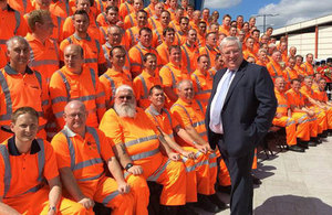 Transport Secretary Patrick McLoughlin at the opening of Reading rail station.