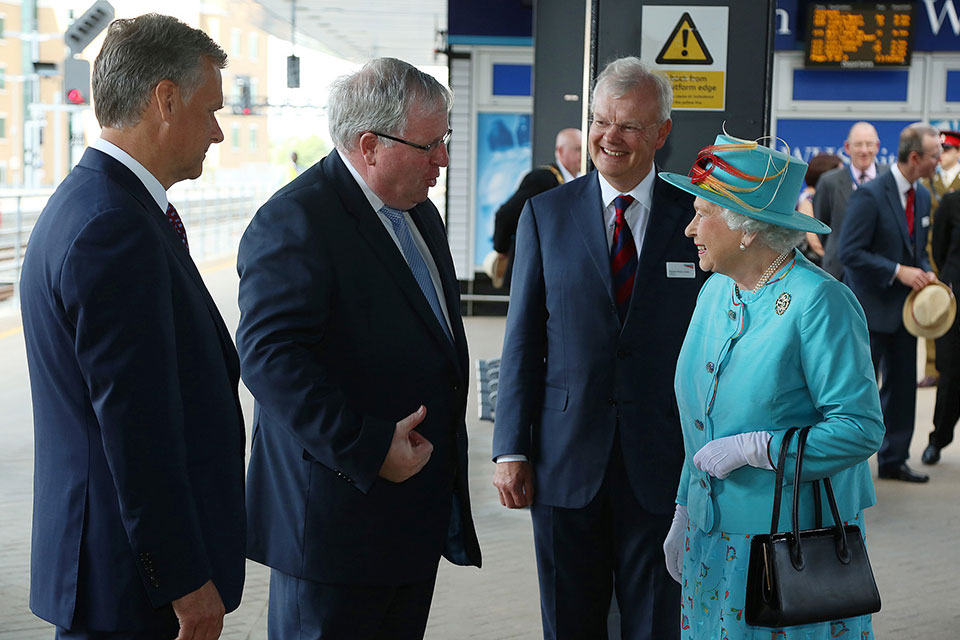 Her Majesty the Queen meets Transport Secretary Patrick McLoughlin, Network Rail Chairman Richard Parry-Jones and Network Rail Chief Executive Mark Carne.