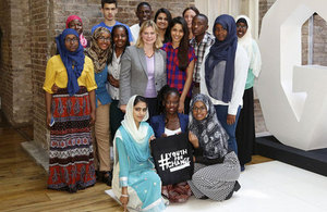 Photo of Justine Greening, Freida Pinto and the Youth For Change panel