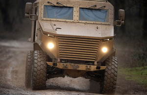 Foxhound Light Protected Patrol Vehicle undergoing extensive trials and testing at Millbrook Proving Ground, Bedford, prior to acceptance into service (stock image)