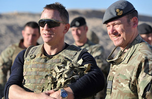 Daniel Craig (left) visits British Armed Forces at Camp Bastion, southern Afghanistan