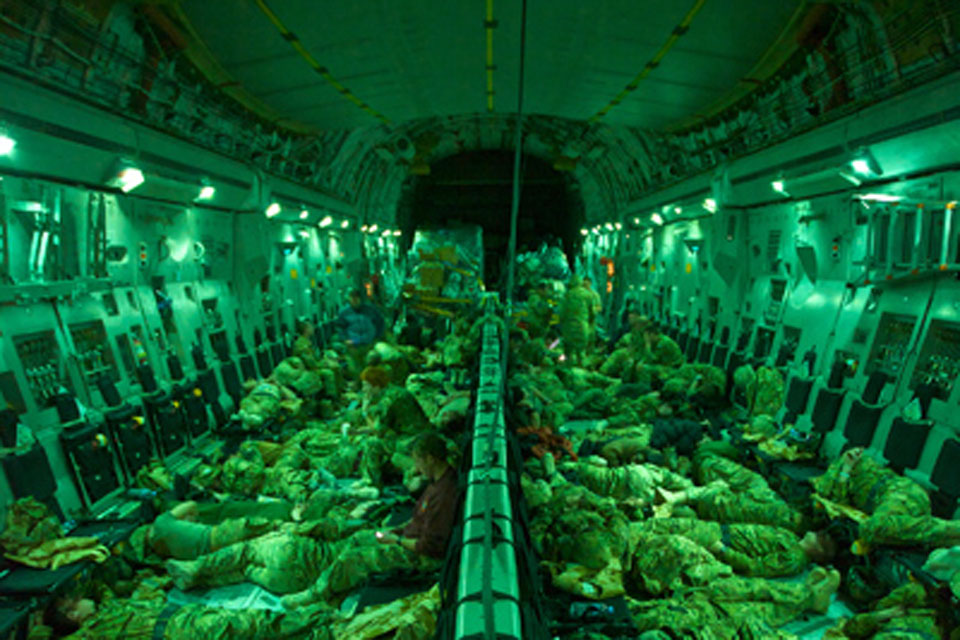 102 troops on board an RAF C17 arriving at RAF Brize Norton on 22 December 2010