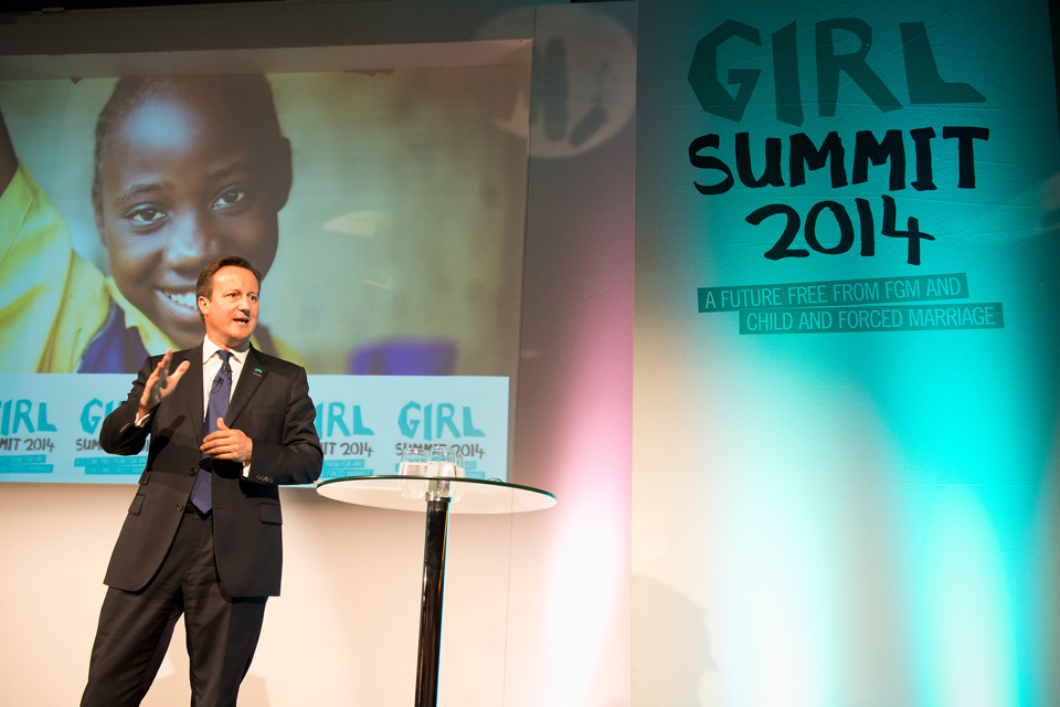 David Cameron speaking at the Girl Summit