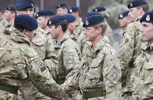 Members of 1 Medical Regiment receive their Afghanistan medals in Munster, northern Germany