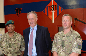 Julian Brazier, Minister for Reserves, with commando engineer reservists [Picture: Crown copyright]