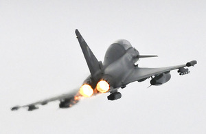 A 3 Squadron Typhoon aircraft from RAF Coningsby during Exercise Taurus Mountain - a Quick Reaction Alert training sortie