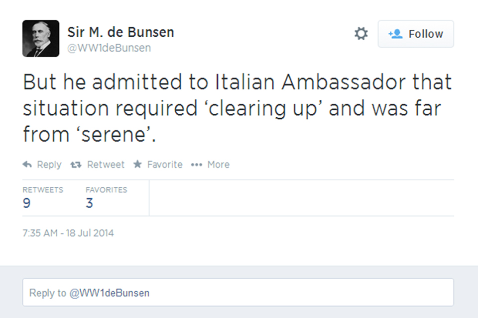 Image of FCO historian tweet as part ot WW1 commemorations