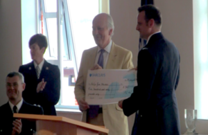 Sir Philip receives cheque