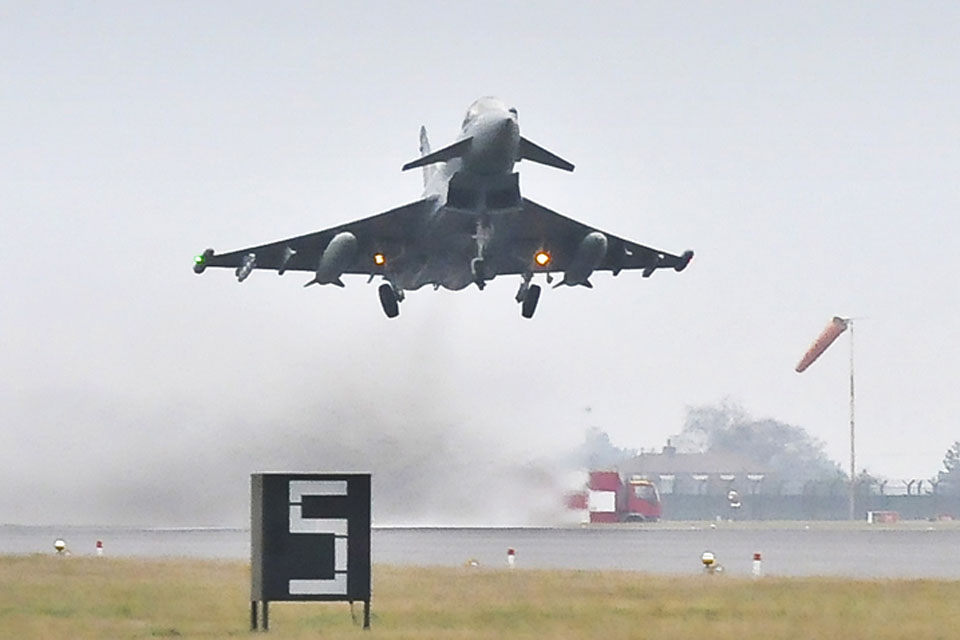 A 3 Squadron Typhoon aircraft takes off from RAF Coningsby during Exercise Taurus Mountain
