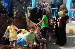 Palestinian families take shelter at an UNRWA school in Gaza City, after evacuating their homes in the northern Gaza Strip. Picture: Shareef Sarhan/UNRWA