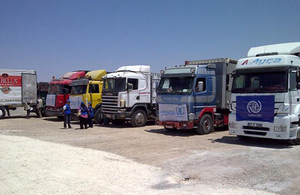 Trucks carrying UN aid into Syria at the border with Turkey. Picture: Christophe Morard/Global Logistics Cluster