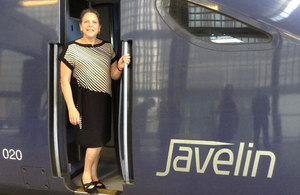 Baroness Kramer aboard a high speed train