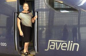 Baroness Kramer aboard a high speed train