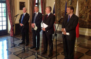 Foreign Secretary and counterparts in Warsaw