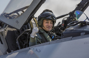 201st Tactical Fighter Squadron officer give the thumbs up at RAF Coningsby